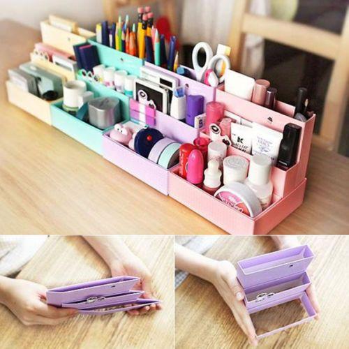 Make Up Organizer Diy  DIY Folding Paper Cardboard Storage Box Makeup Cosmetic