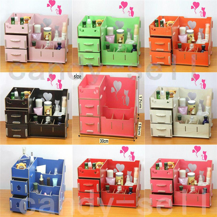 Make Up Organizer Diy  New Wooden Storage Box Cosmetics Multifunctional DIY