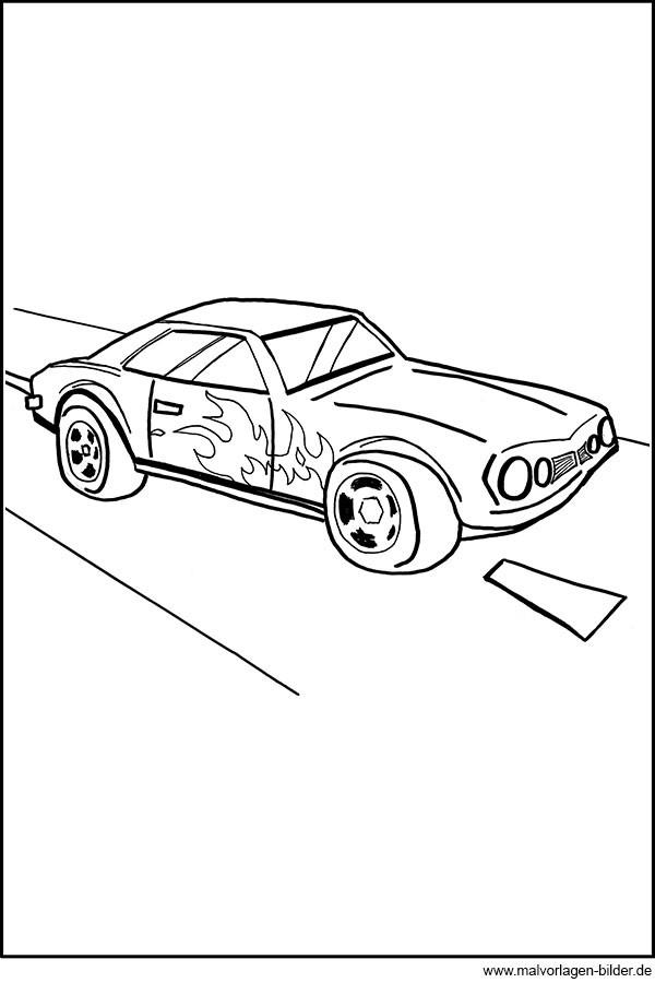 Malvorlagen Für Jungs  Auto mit Flammen Ausmalbilder für Jungs
