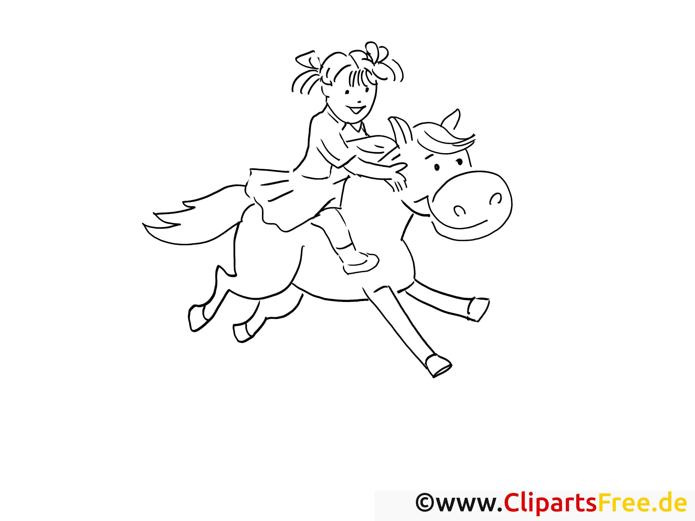 Malvorlagen Für Mädchen  Mädchen reitet auf dem Pferd Gratis Ausmalbilder und