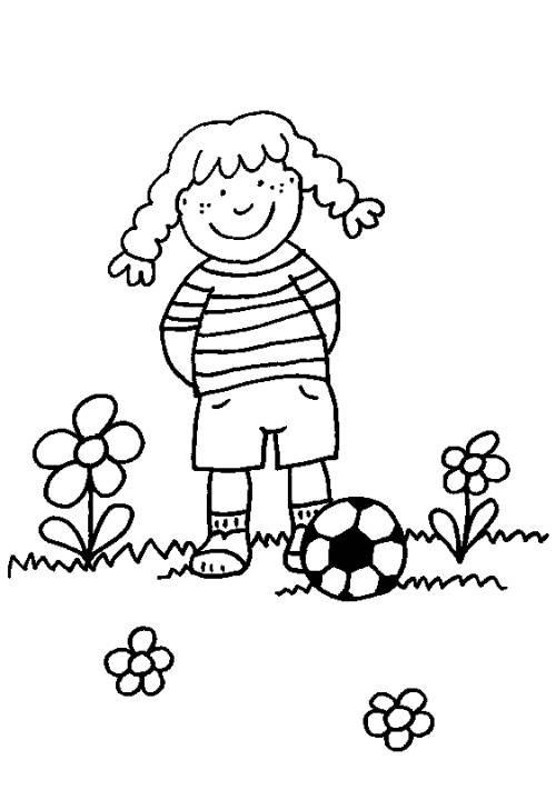 Malvorlagen Für Mädchen  Kostenlose Malvorlage Sport Mädchen mit Fußball zum Ausmalen