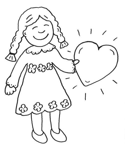 Malvorlagen Für Mädchen  Kostenlose Malvorlage Muttertag Mädchen mit Herz zum