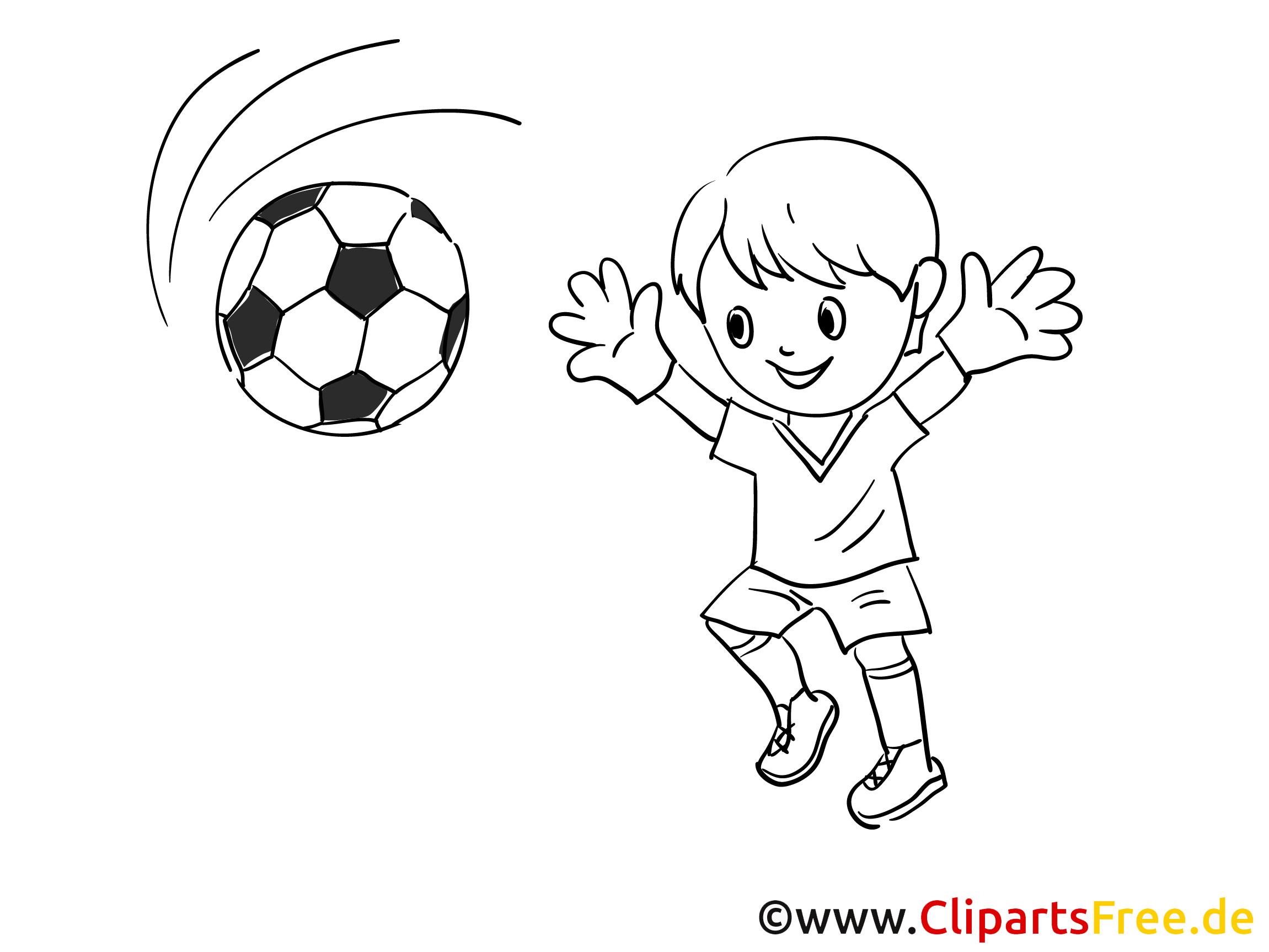 Malvorlagen Fußball  Junge spielt Fussball Malvorlage gratis