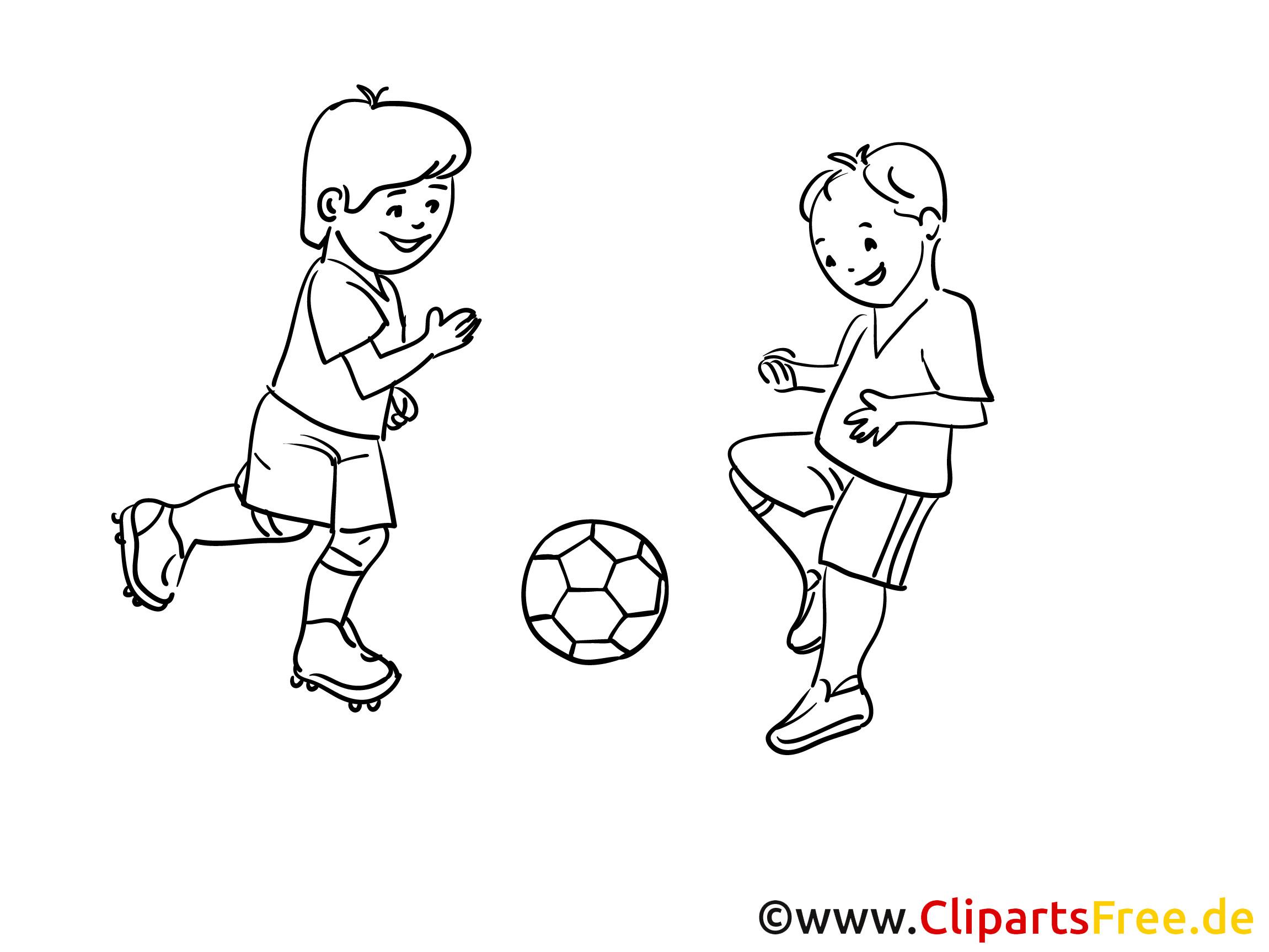 Malvorlagen Fußball  Kinder spielen Fussball Malvorlage