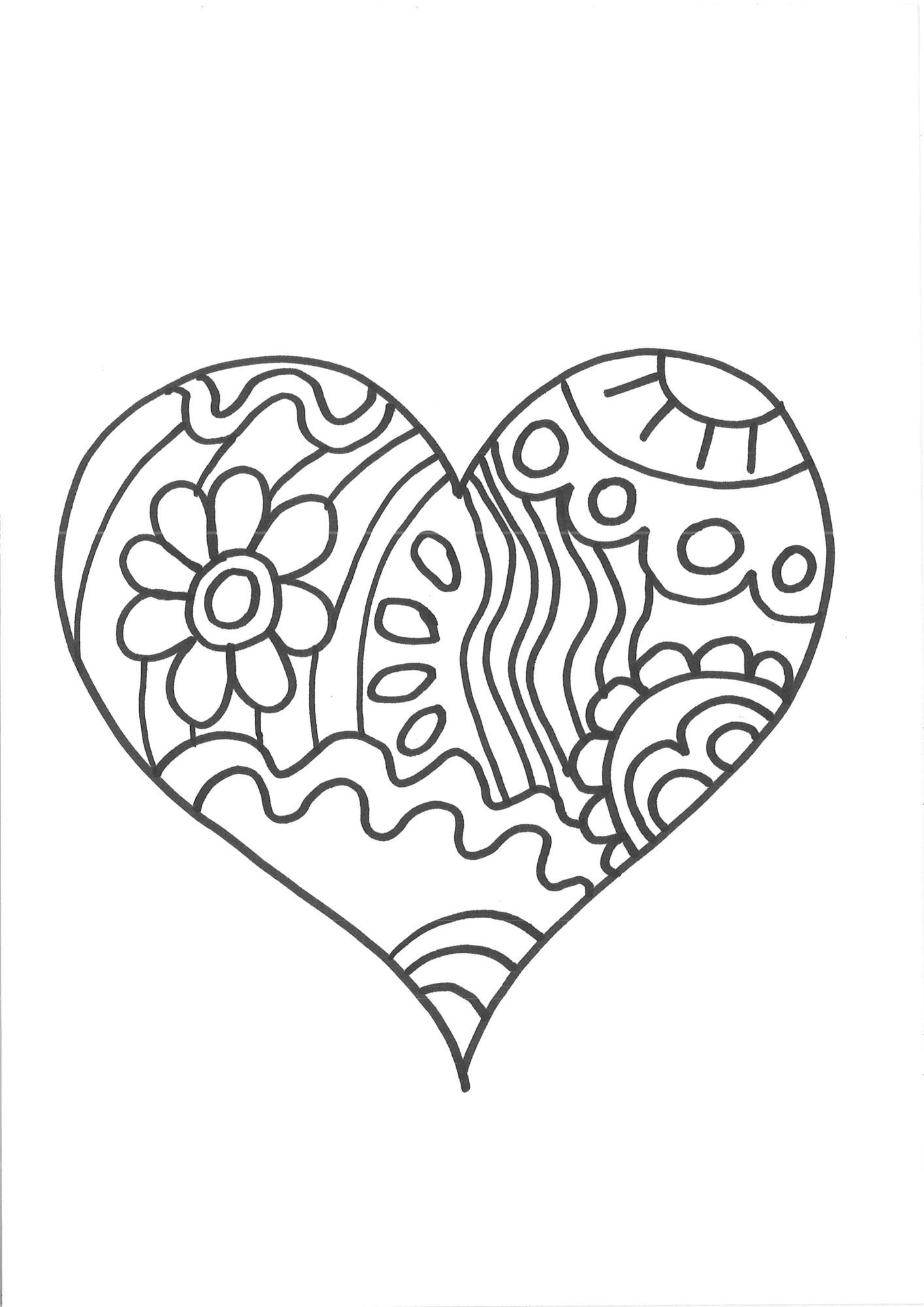 Malvorlagen Herz  Kostenlose Malvorlage Herzen Herz zum Ausmalen zum Ausmalen