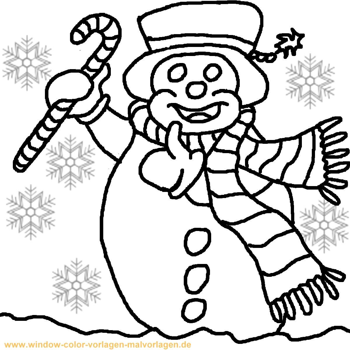 Malvorlagen Weihnachten Winter  Ausmalbild Schneemann