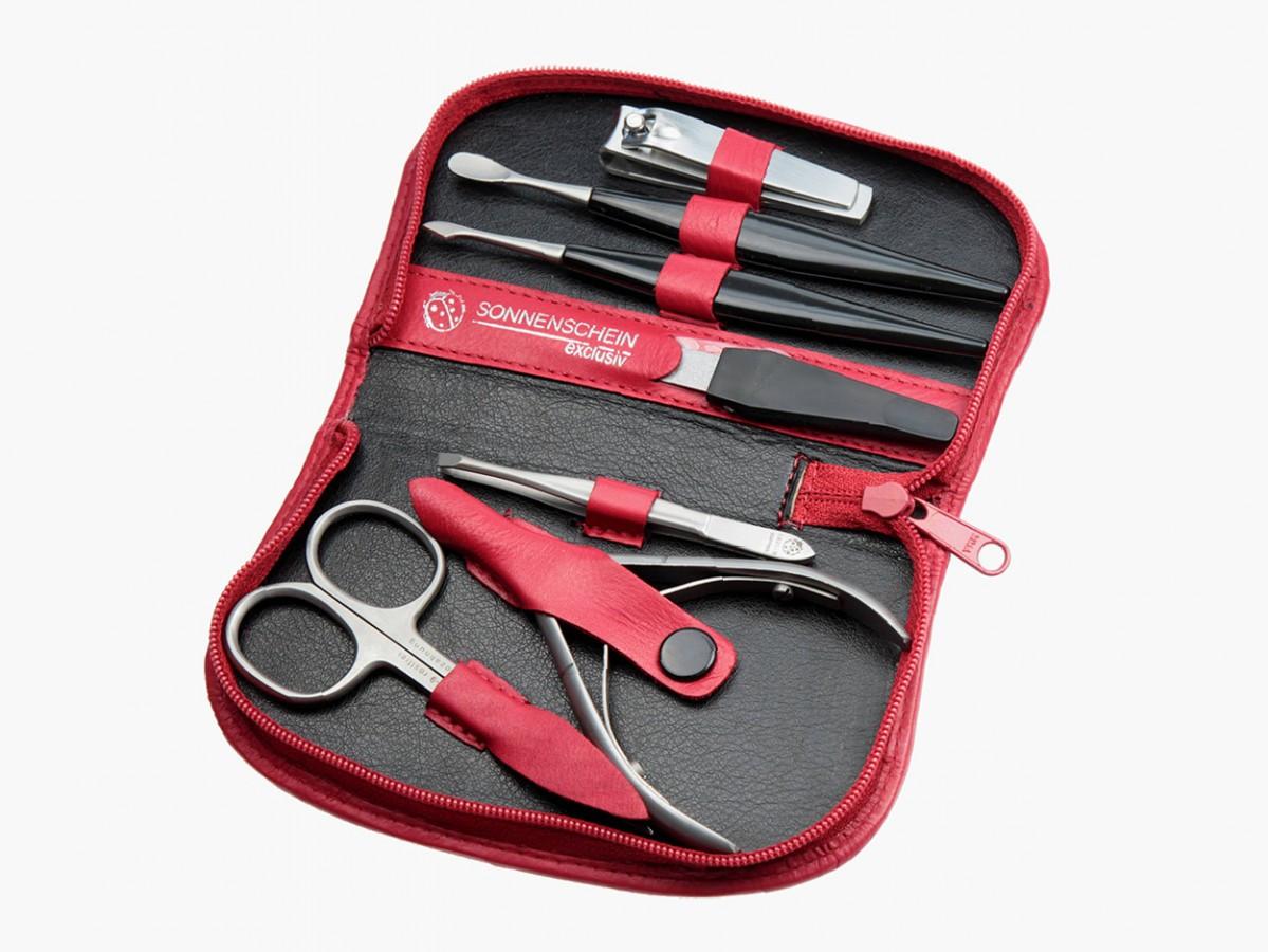 Maniküre Set Hochwertig  Sonnenschein HK Pro Manicure Set 7 Pcs Red Leather Case