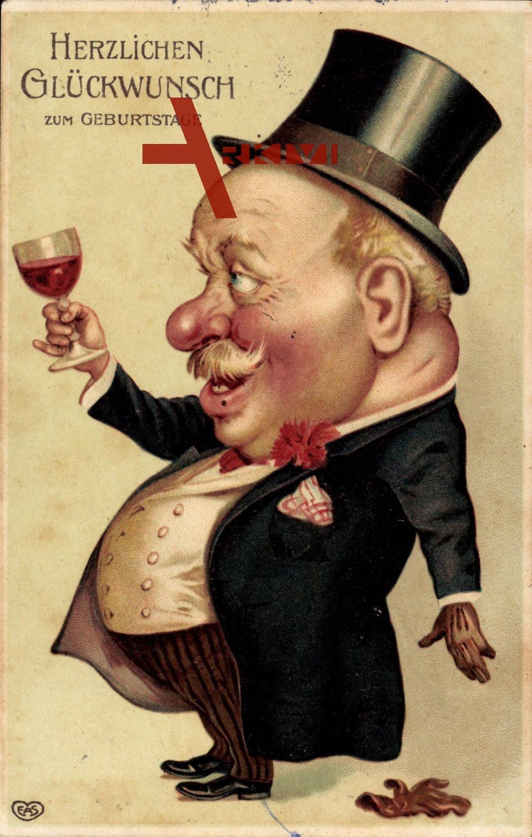Mann Geburtstagsbilder  Glückwunsch Geburtstag Mann hält Weinglas hoch Zylinder