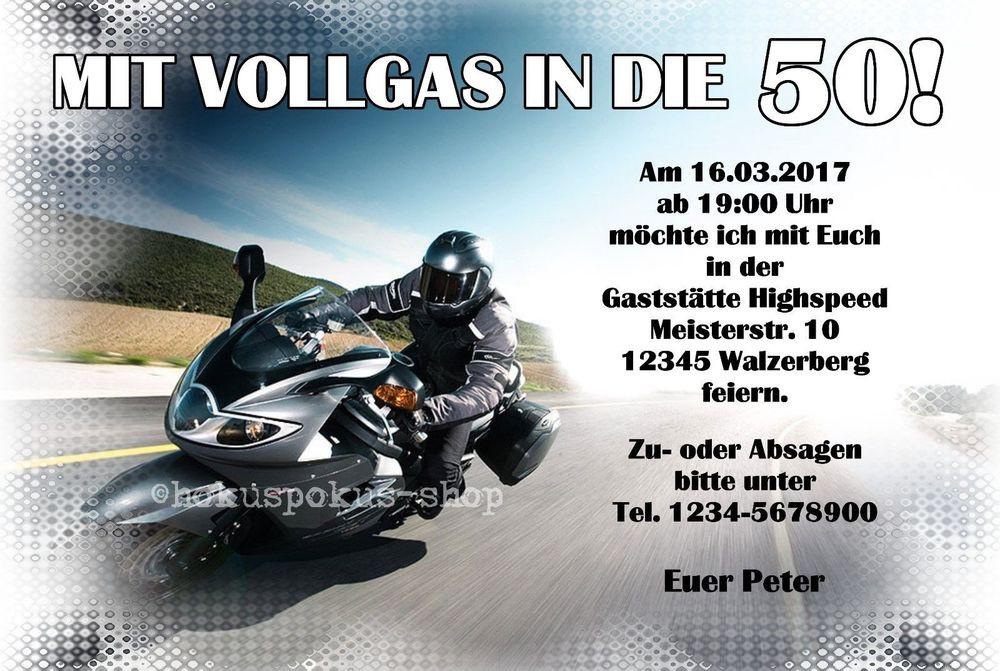 Motorrad Geburtstagsbilder  30 Einladungskarten Geburtstag Motorrad Biker Einladungen
