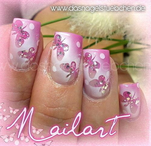 Nageldesign Airbrush  Airbrushed Nails Nageldesign Nailart Schmetterlinge
