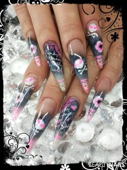 Nageldesign Airbrush  Skull Airbrush Stiletto Nails Pinterest