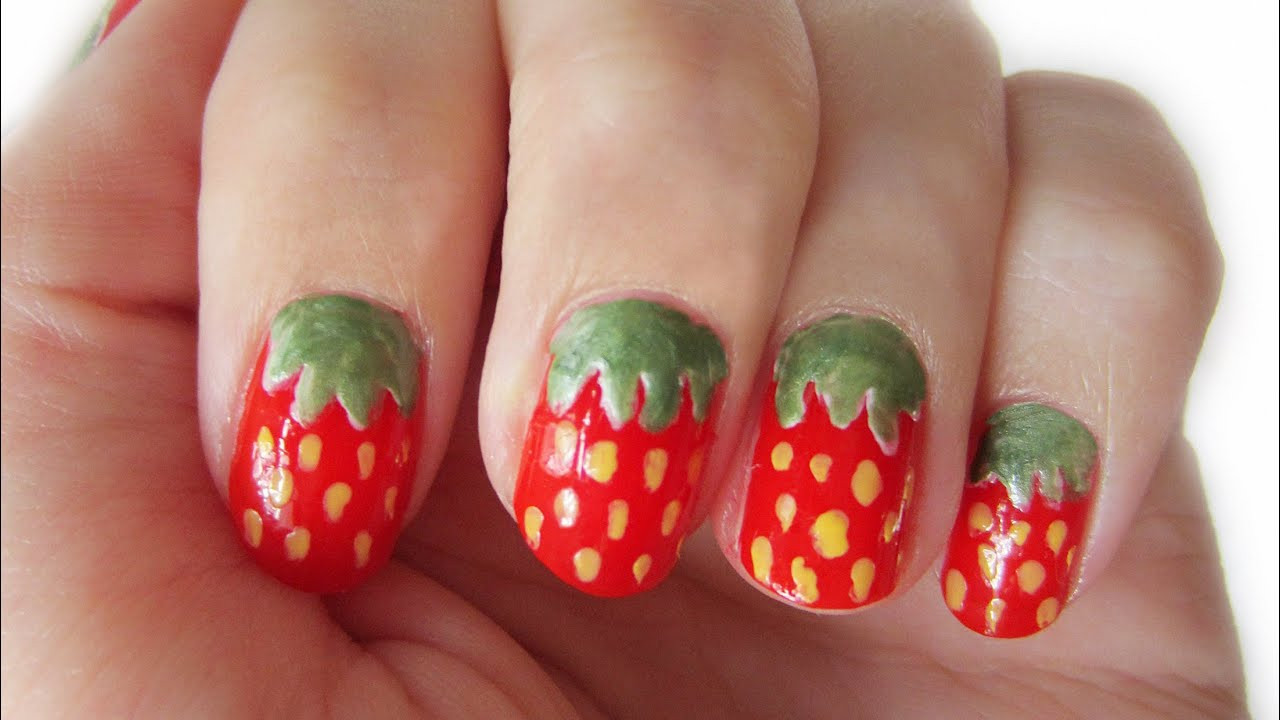 Nageldesign Anfänger  Nageldesign Erdbeeren für Anfänger