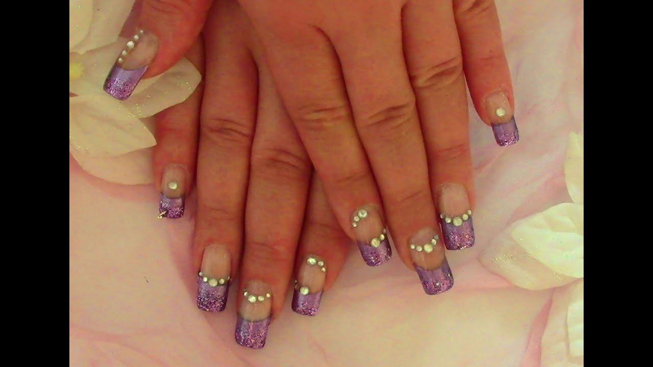 Nageldesign Anfänger  Lila Glam Nails Nageldesign selber machen für Anfänger