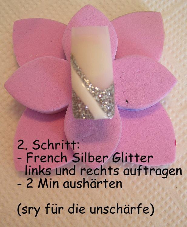 Nageldesign Anleitung Step By Step  Bild silber glitter Weiss Silber Nageldesign Step by