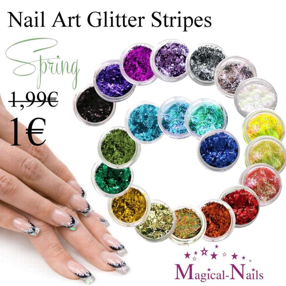 Nageldesign Auf Rechnung Bestellen  Nail Art Glitter Streifen Stripes Fäden Kauf Auf
