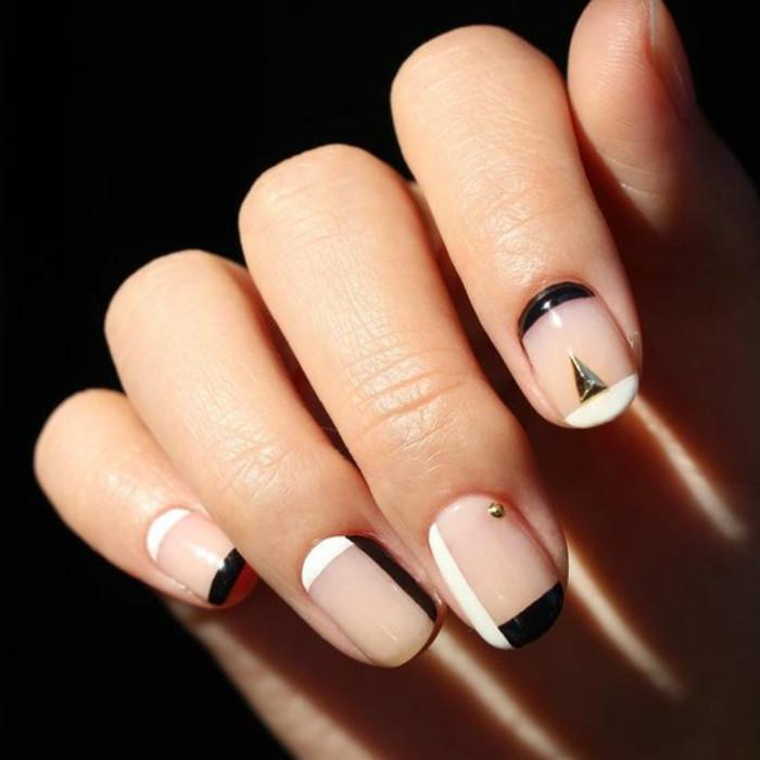 Nageldesign Bilder Schwarz Weiß  40 Nageldesign Bilder schlichte Nägel nach den neuen Tends