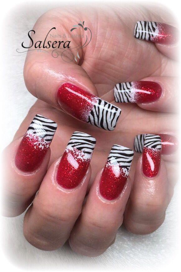 Nageldesign Frankfurt Am Main  Nails Nageldesign Gelnägel Fullcover rot Stamping