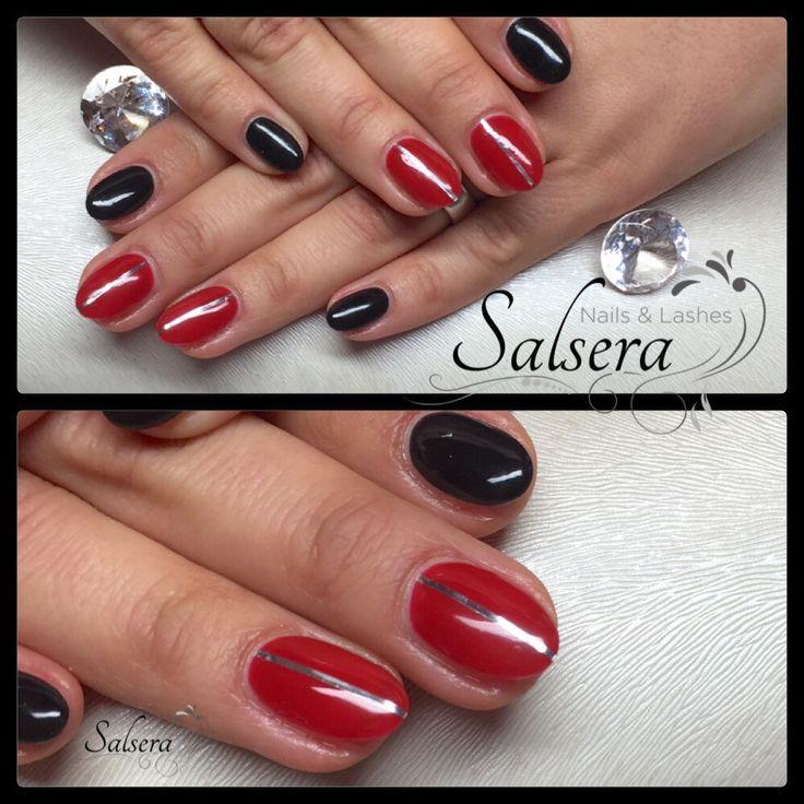 Nageldesign Frankfurt Am Main  Nails Nägel Fullcover rot schwarz stripes rund kurz
