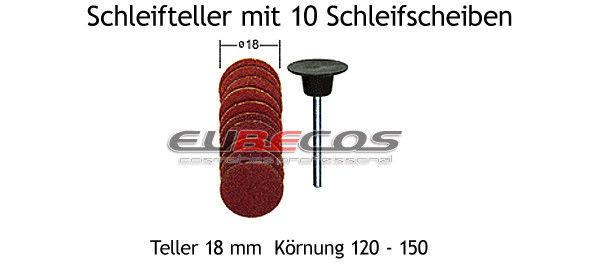 Nageldesign Fräser  Schleifteller Nr 982 mit 10 Schleifscheiben 18 0 mm