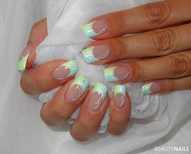 Nageldesign French Farbig  Zweifarbige Nageldesign Nägel