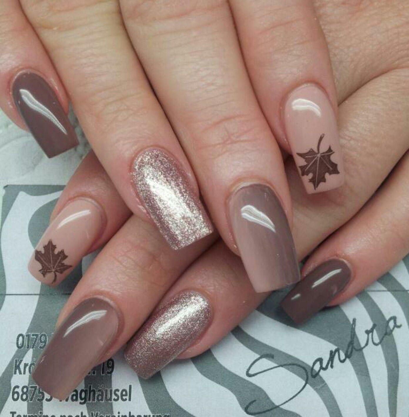 Nageldesign Herbstfarben  Nude Braun Herbst Nägel Pinterest