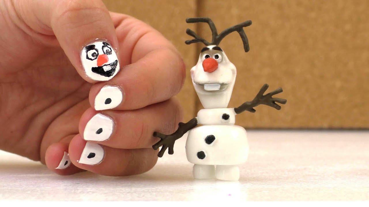 Nageldesign Kinder  Nageldesign für Kinder Olaf der Schneemann aus dem