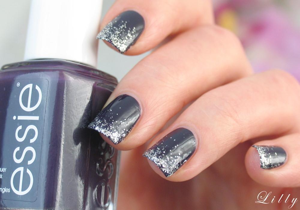Nageldesign Mit Glitzer  Glitzer French Nails Nageldesign für Weihachten mit