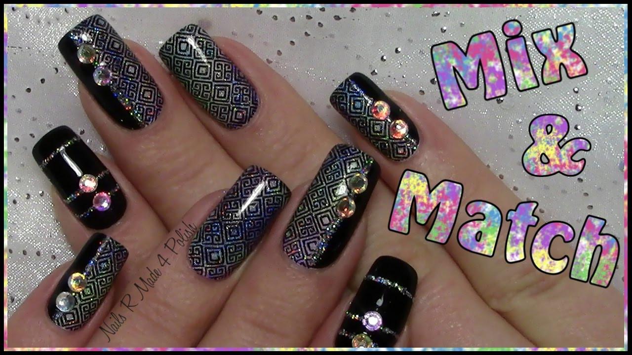 Nageldesign Mit Strass  Mix & Match Nägel Einfaches stamping Nageldesign mit