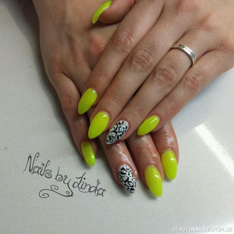 Nageldesign Neon  Fullcover Neon Gelb Nageldesign