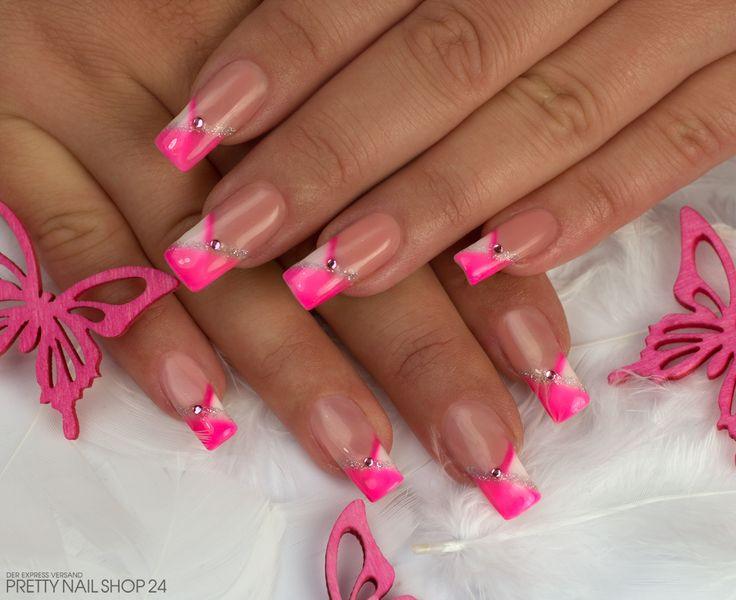Nageldesign Neon  pink french nailart nails Meine Kollegin Meike liebt