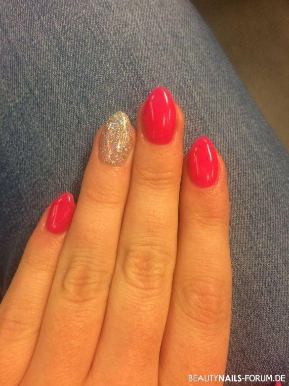 Nageldesign Neon  Fullcover neon rot pink Nageldesign