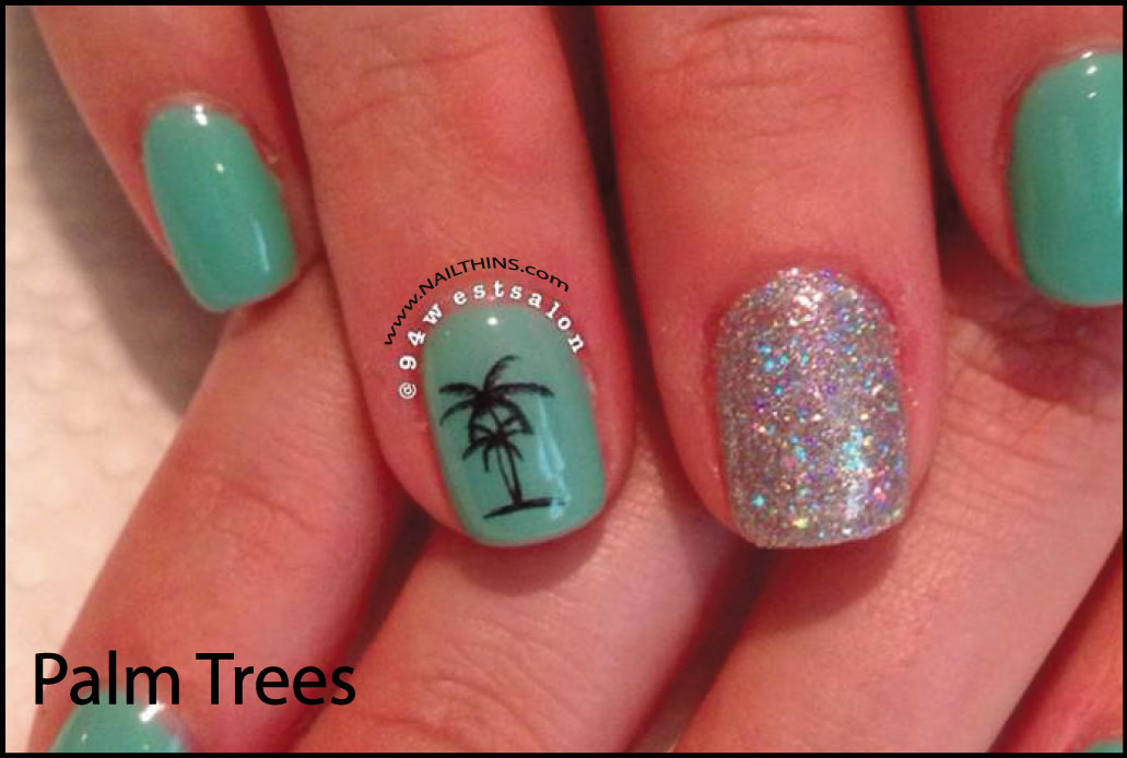 Nageldesign Palmen  Palm Tree Decal tropischen Palmen Nageldesign Nail Art