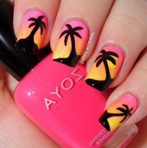 Nageldesign Palmen  Sommer nageldesign vom Meer inspiriert Palmen