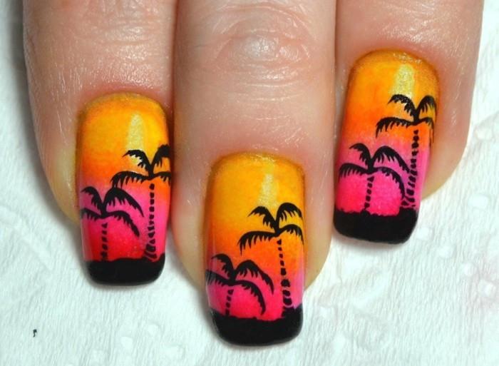 Nageldesign Palmen  Nageldesign Sommer 77 frische Fingernägel Ideen für