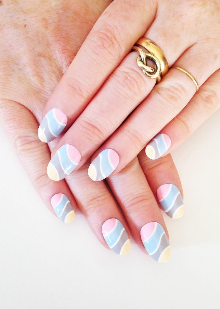Nageldesign Pastellfarben  55 Fingernägel Bilder Grafische Muster im Trend für 2016