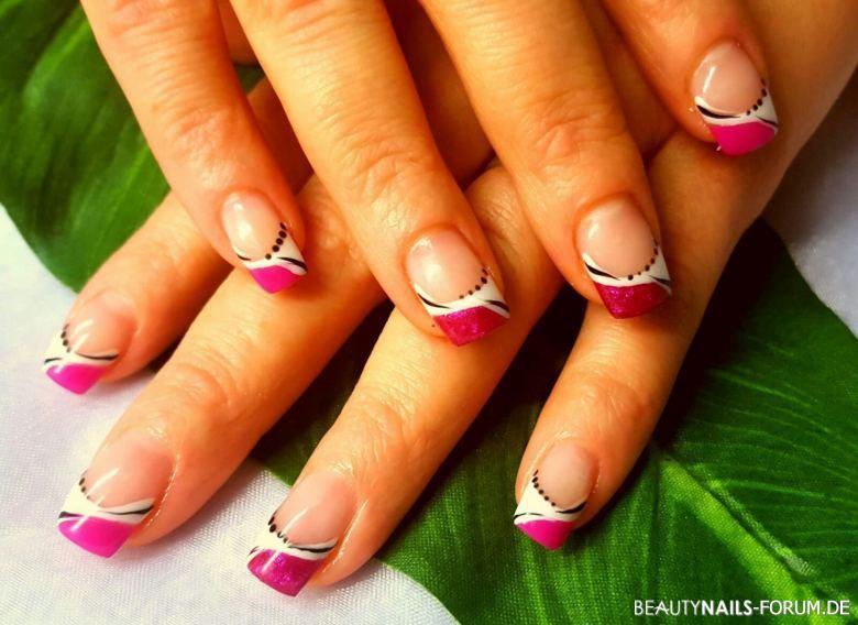Nageldesign Pink Weiß  French weiß pink Nageldesign