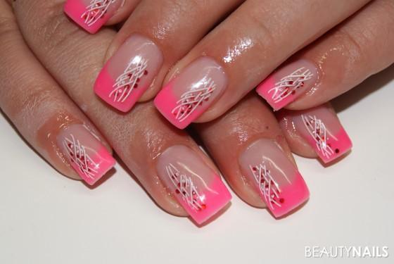 Nageldesign Pink Weiß  Pink Nageldesign