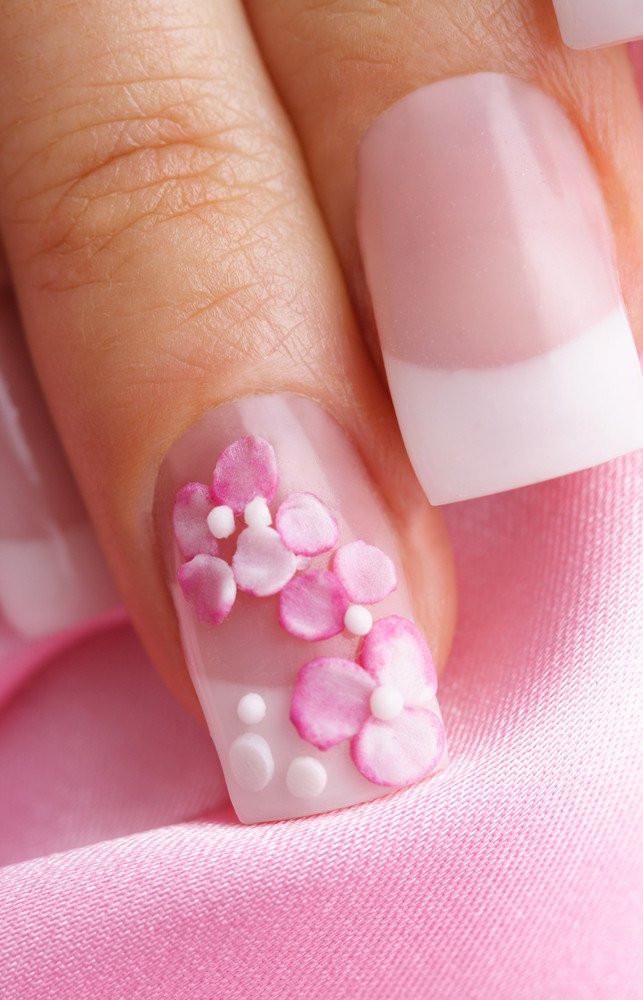 Nageldesign Pink Weiß  Nageldesign Nailart Pink Weiss Struktur Blueten