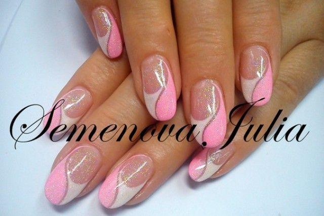 Nageldesign Pink Weiß  Naildesigne Yulia 2014 Pink Weiß Oval