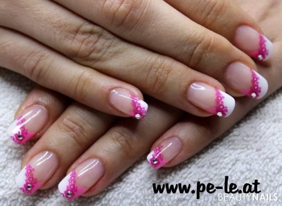 Nageldesign Pink Weiß  pinkflower Nageldesign