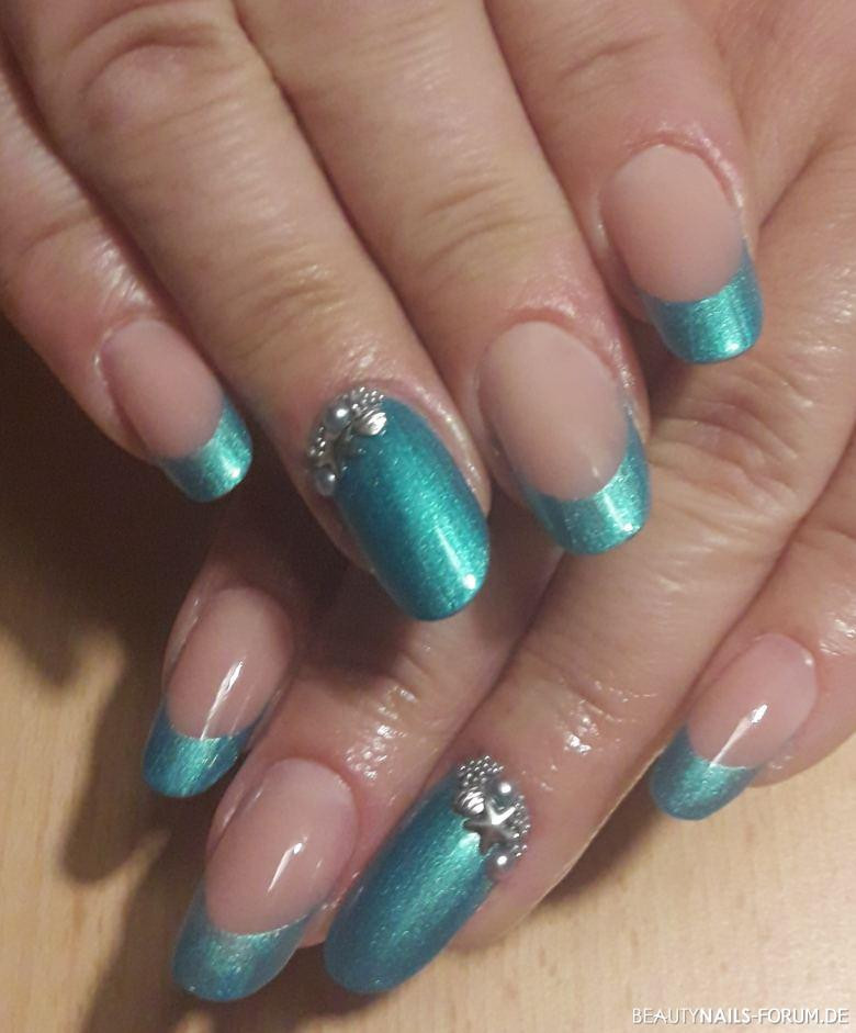 Nageldesign Selbst Gemacht  French Türkis Tropical Lyni Nails Gelnägel