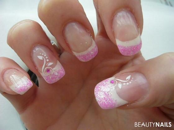 Nageldesign Sommer  Pink Sommer Glitter Nageldesign