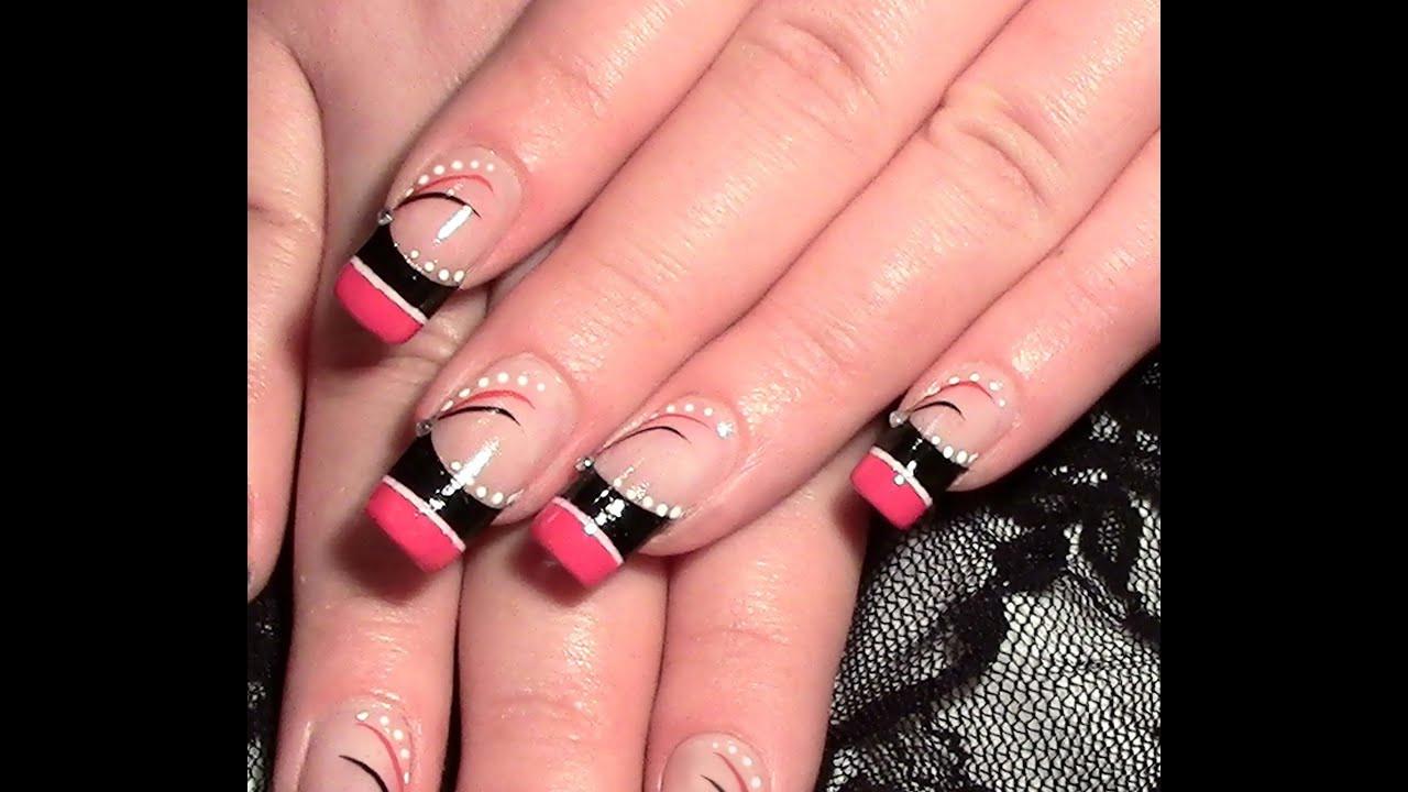 Nageldesign Sommer Selber Machen  Nageldesign abstrakt in Pink & Schwarz zum selber machen