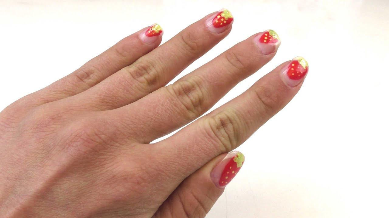 Nageldesign Sommer Selber Machen  Nageldesign Erdbeere Nageldesign für den Sommer selber