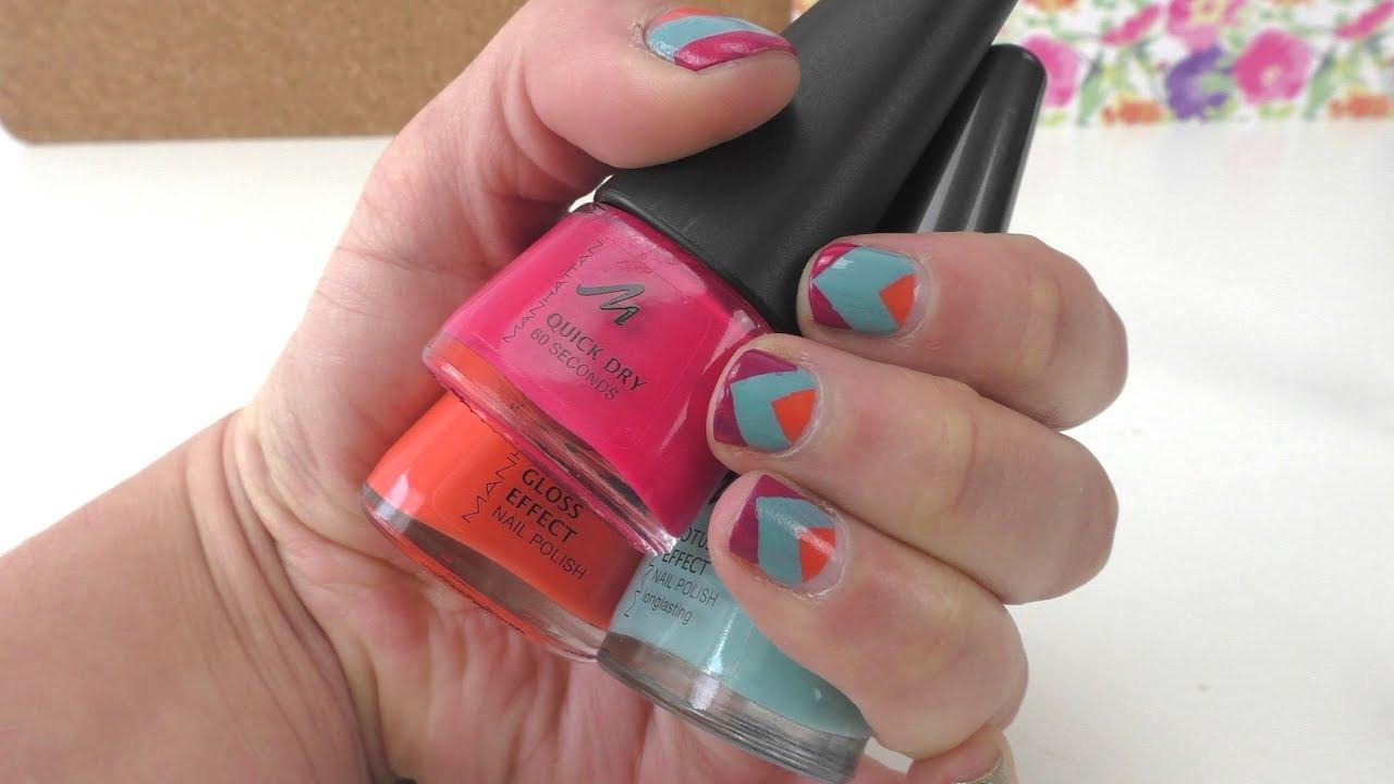 Nageldesign Sommer Selber Machen  Nageldesign Pfeil Muster in 3 Farben DIY Nagellack