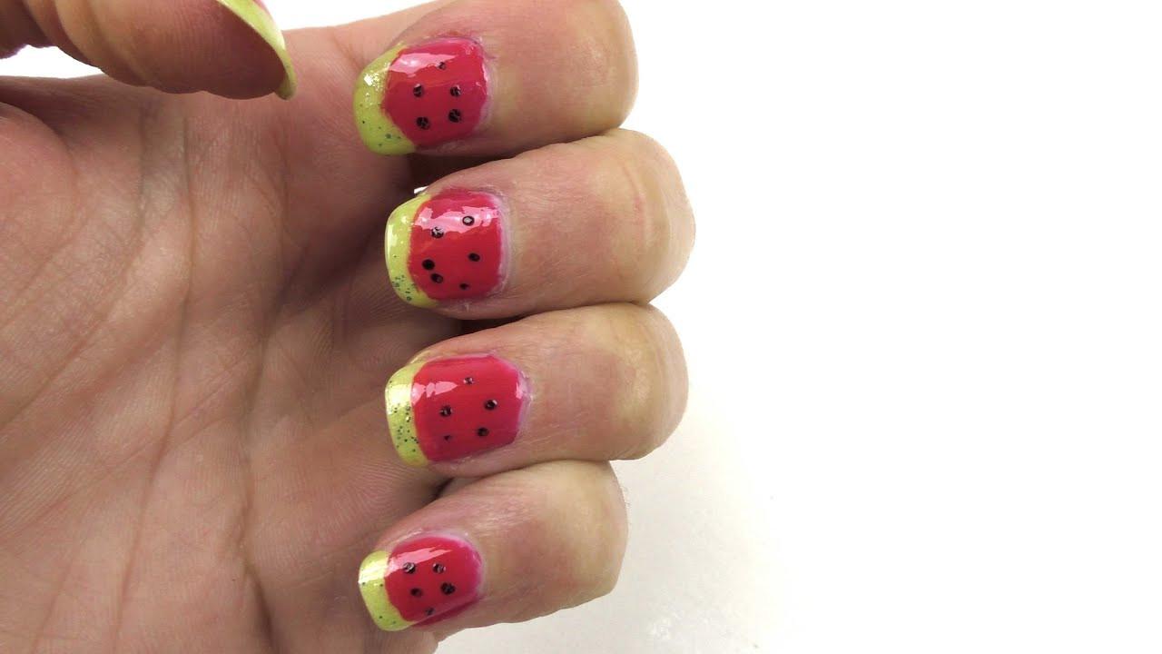 Nageldesign Sommer Selber Machen  Nageldesign für den Sommer Melone DIY Lack Nageldesign