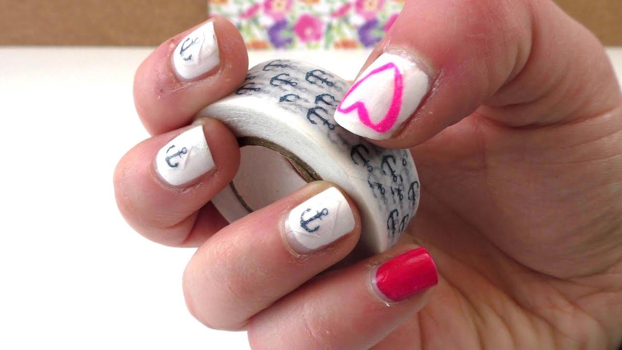 Nageldesign Sommer Selber Machen  Nail Design mit Washi Tape selber machen DIY Fingernägel