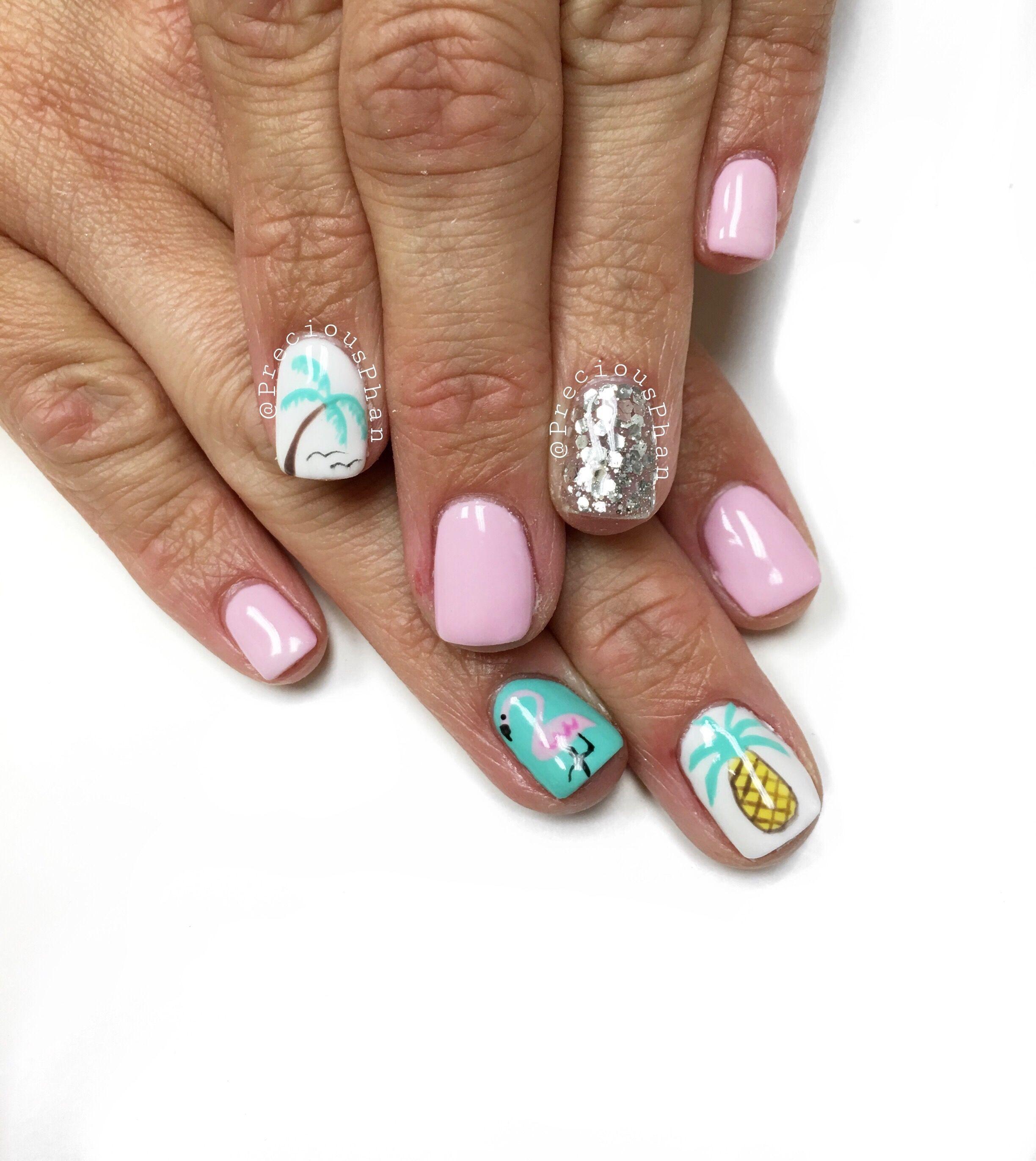Nageldesign Strand  Summer nails Beach nails Vacation nails Palm trees