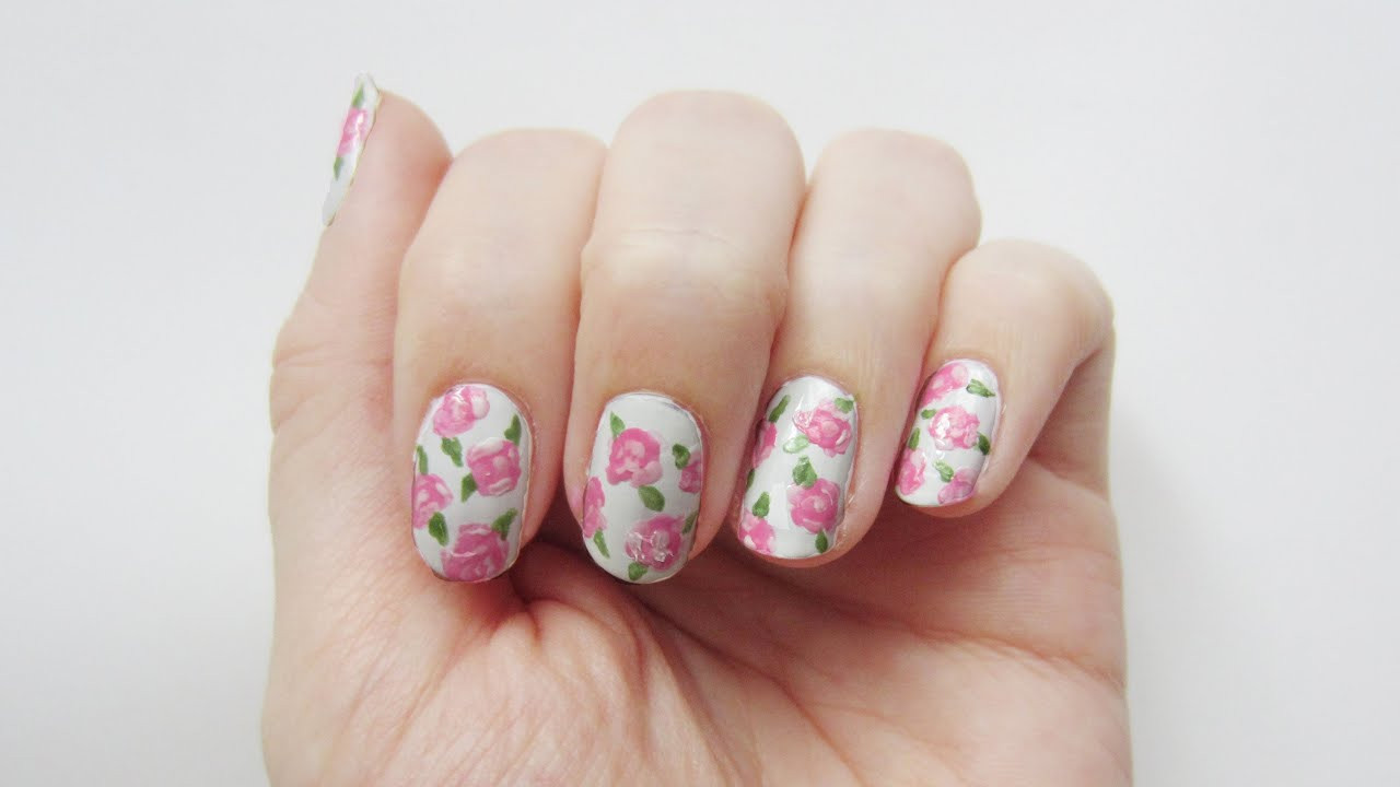 Nageldesign Video  Nageldesign Rosen vintage roses nail art