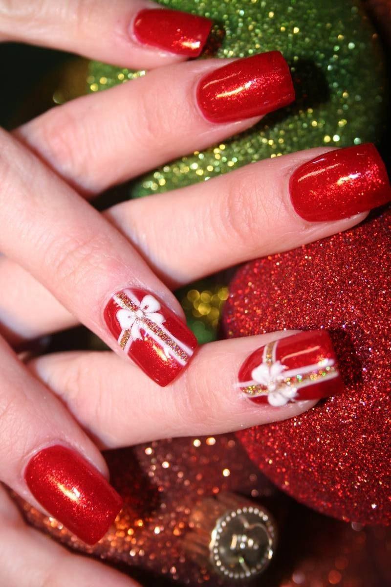 Nageldesign Weihnachten Muster  24 Gelnägel Muster Weihnachten auf den Nägeln